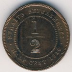 Straits Settlements, 1/2 cent, 1916