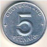 German Democratic Republic, 5 pfennig, 1952–1953