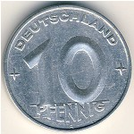 German Democratic Republic, 10 pfennig, 1952–1953