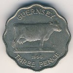 Guernsey, 3 pence, 1956