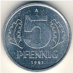 German Democratic Republic, 5 pfennig, 1976–1990