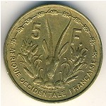 French West Africa, 5 francs, 1956