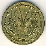 French West Africa, 10 francs, 1956