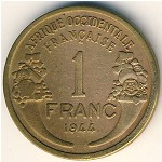 French West Africa, 1 franc, 1944