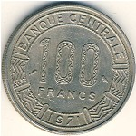 Central African Republic, 100 francs, 1971–1972