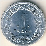 Central African Republic, 1 franc, 1974–1998