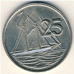 Cayman Islands, 25 cents, 1987–1990