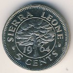 Sierra Leone, 5 cents, 1964