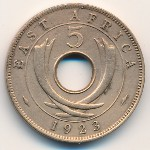 East Africa, 5 cents, 1921–1936