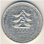 West African States, 5000 francs, 1982