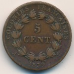 French Colonies, 5 centimes, 1839–1844