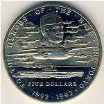Marshall Islands, 5 dollars, 1992