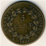 French Colonies, 5 centimes, 1825–1830