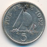 Guernsey, 5 pence, 1990–1997