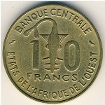 West African States, 10 francs, 1966–1981