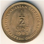 East Caribbean States, 1/2 cent, 1955–1958