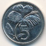 Cook Islands, 5 cents, 1987–1994