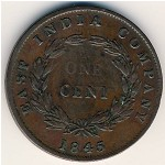 Straits Settlements, 1 cent, 1845