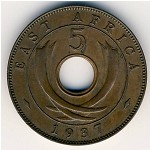 East Africa, 5 cents, 1937–1941