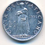 Vatican City, 1 lira, 1951–1958