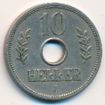 German East Africa, 10 heller, 1908–1914