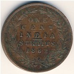 Straits Settlements, 1 cent, 1862
