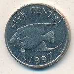 Bermuda Islands, 5 cents, 1986–1998