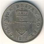 British West Indies, 1/8 dollar, 1820–1822