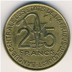 West African States, 25 francs, 1970–1979