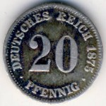 Германия, 20 пфеннигов (1873–1876 г.)