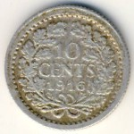 Нидерланды, 10 центов (1916 г.)