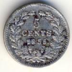 Нидерланды, 5 центов (1855 г.)