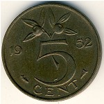 Netherlands, 5 cents, 1950–1980