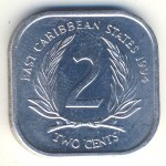 East Caribbean States, 2 cents, 1981–2000