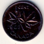 Канада, 1 цент (1965–1977 г.)