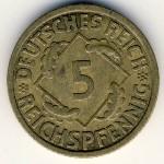 Веймарская республика, 5 рейхспфеннигов (1924–1936 г.)