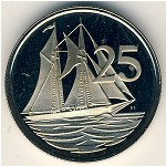 Cayman Islands, 25 cents, 1972–1986