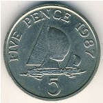 Guernsey, 5 pence, 1985–1990