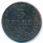 Гессен-Кассель, 3 геллера (1850 г.)