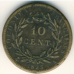 French Colonies, 10 centimes, 1825–1829