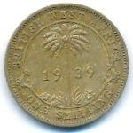Британская Западная Африка, 1 шиллинг (1938–1947 г.)