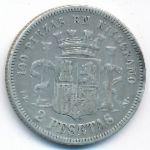 Испания, 2 песеты (1870 г.)