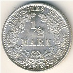 Germany, 1/2 mark, 1905–1919