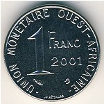 West African States, 1 franc, 1976–2002