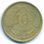 Чили, 10 сентесимо (1964–1970 г.)