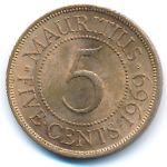 Маврикий, 5 центов (1957–1978 г.)