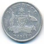 Австралия, 6 пенсов (1911 г.)