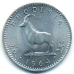Rhodesia, 2 1/2 shillings-25 cents, 1964
