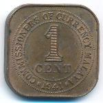 Малайя, 1 цент (1941 г.)