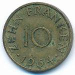 Саар, 10 франков (1954 г.)